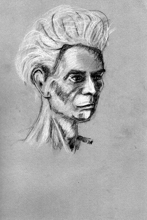 Woman (conte crayon) on pastel paper, original and prints