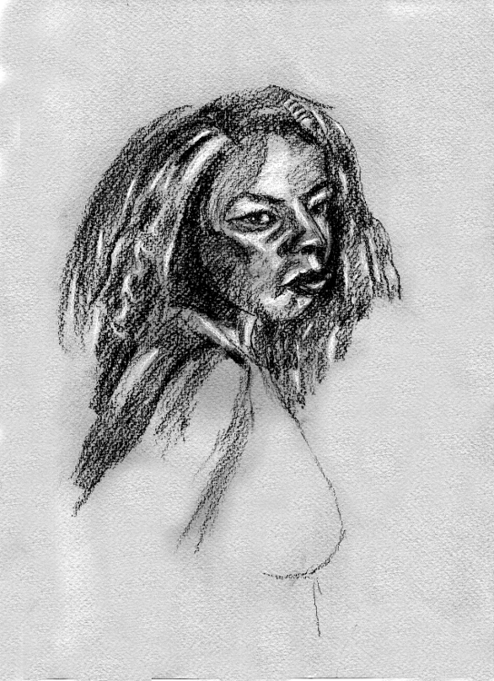African Woman (conte), original and prints