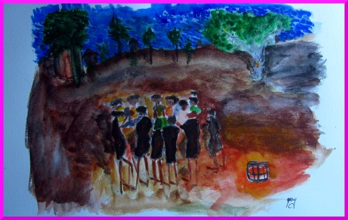 """Women Dance in Zambian Village, our Peace Corps visit, A3, 11.5 x 16.5"""""""
