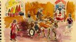 "Street scene Morocco, water color 13.5x 21 cm, 5 x 8"""