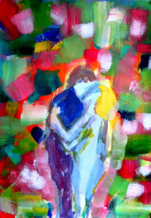 "Couple Embraces II, acrylics on paper, 11.5 x 16.5"", 30 x 42 cm"