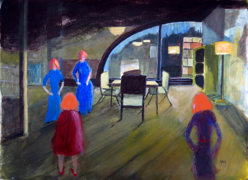 Peg in a Hopper Scene,