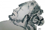Man Sleeps, pen and ink