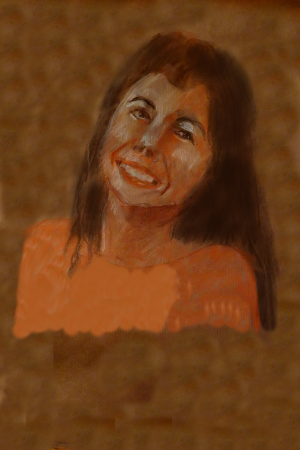 Maria Linares, pianist, conte crayon on butcher