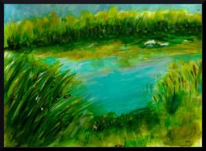 """Pond in Zaandam, acrylic, A3, 16.5 x 11.7"""""""
