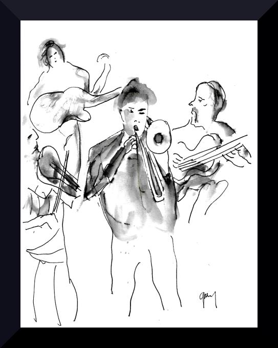 "Flamenco Fusion Sala Russafa pen and ink 21 x 15 cm, 8.3 x 5.9"""