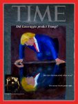 Trumpcissus (Trump on Time Magazine Cover), prints only, original painting cut into Time cover