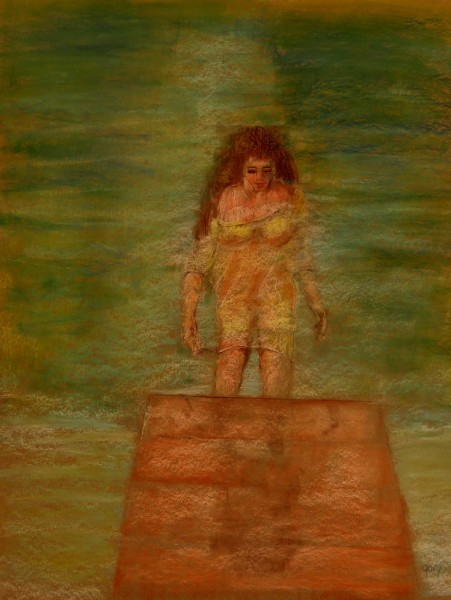 """Woman Climbs From Water , pastels, 50 x 65 cm, 20 x 25"""" (untrimmed)"""