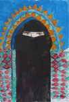 """Woman in Hijab Arch, acrylics on paper, 13.5 x 21 cm/ 5.3 x 8.15"""""""